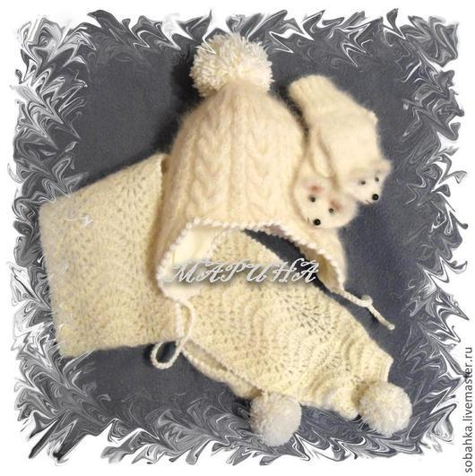 Одежда унисекс ручной работы. Ярмарка Мастеров - ручная работа. Купить КОМПЛЕКТ  собачий пух - шапка шарф варежки. Handmade.