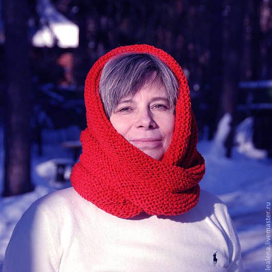 """Шали, палантины ручной работы. Ярмарка Мастеров - ручная работа. Купить Снуд-шарф """"Яблоки на снегу"""" (полушерсть). Handmade. Снуд"""