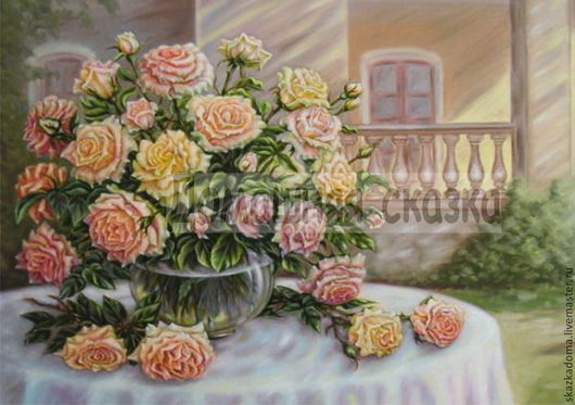 """Вышивка ручной работы. Ярмарка Мастеров - ручная работа. Купить Принт для вышивки лентами, бисером, мулине """"Розы на столе"""". Handmade."""