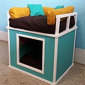 Для домашних животных, ручной работы. Ярмарка Мастеров - ручная работа Домик для собак двухэтажный и два лежака в комплекте. Handmade.