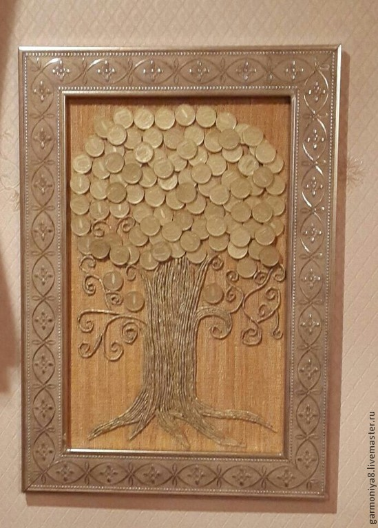 панно денежное дерево из монет мастер класс