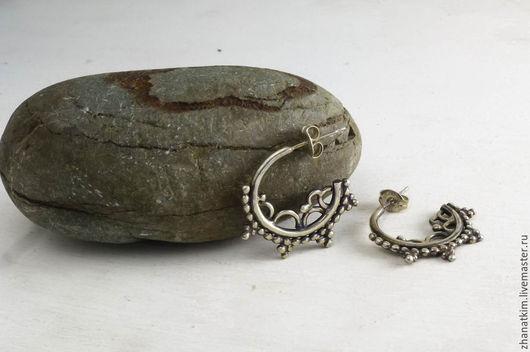 Серьги ручной работы. Ярмарка Мастеров - ручная работа. Купить Серьги кольца в этническом стиле – Летние серьги из серебра. Handmade.