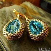 Серьги-капли Aquamarine, светлое золото с кристаллом Сваровски