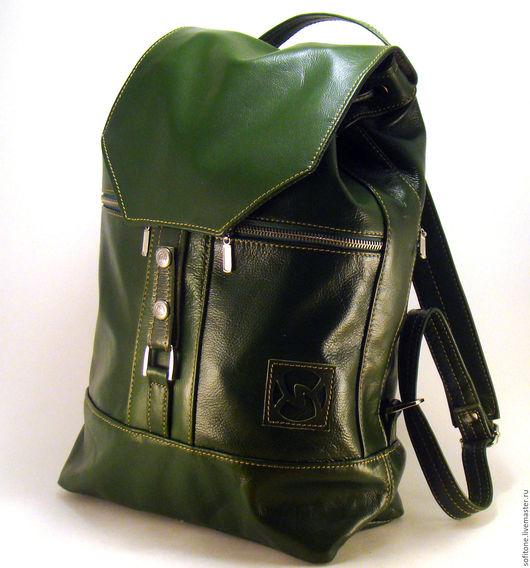 Рюкзаки ручной работы. Ярмарка Мастеров - ручная работа. Купить Рюкзак городской кожаный Зеленый  Люкс. Handmade. Кожаный рюкзак