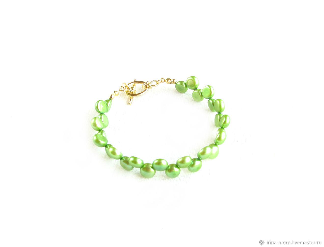 Green pearl bracelet, pearl bracelet decoration, Bead bracelet, Moscow,  Фото №1