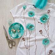 Одежда ручной работы. Ярмарка Мастеров - ручная работа футболка Маки, шоколад и бирюза.. Handmade.