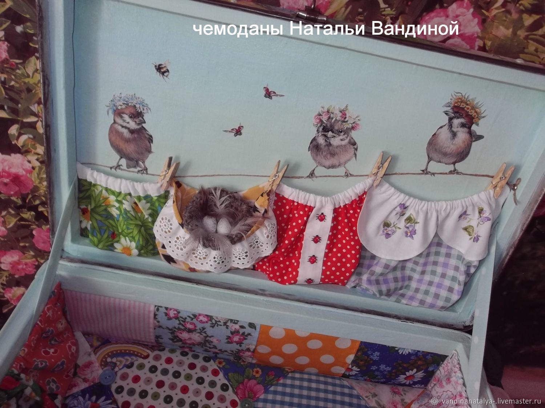 "Чемодан ""Мой воробушек"" (печворк)"