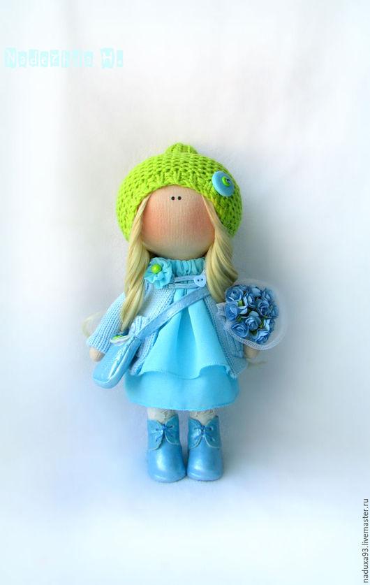 Коллекционные куклы ручной работы. Ярмарка Мастеров - ручная работа. Купить Текстильная интерьерная кукла Девочка Весна. Handmade. Голубой