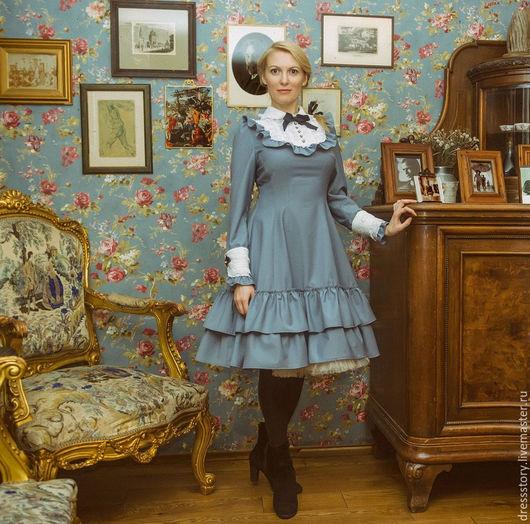 Платья ручной работы. Ярмарка Мастеров - ручная работа. Купить Платье из вискозы Голубая дымка. Handmade. Серый, фатин