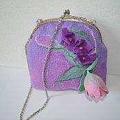 Сумки и аксессуары handmade. Livemaster - original item Bag women`s beautiful felted Lilac dreams-Flowers on a stone. Handmade.