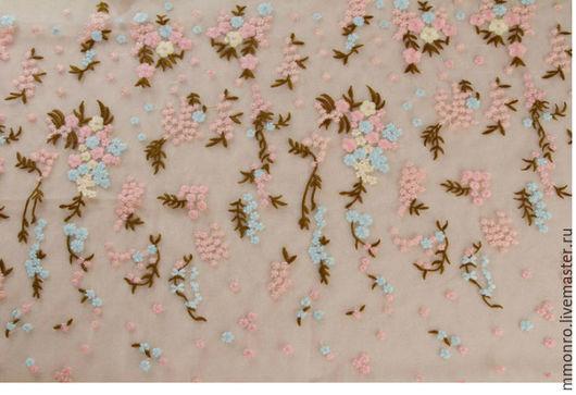 Шитье ручной работы. Ярмарка Мастеров - ручная работа. Купить Красивая вышивка на ткани Микаэлла. Handmade. Ткань, велюр, вышивка