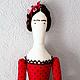 """Куклы Тильды ручной работы. Заказать Текстильная интерьерная кукла. """"Буду Фридой"""". Катины Куклы. Ярмарка Мастеров. Горошек"""