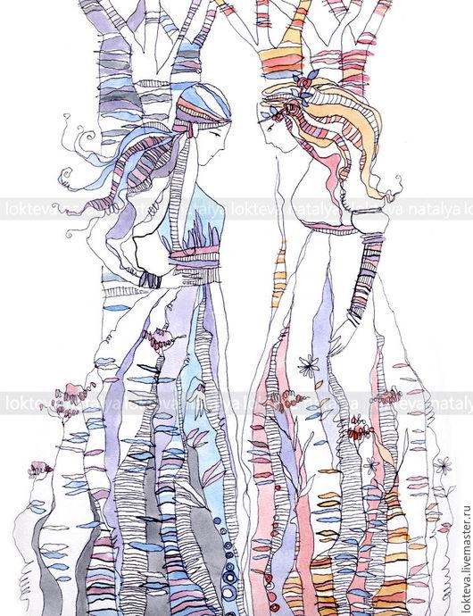"""Люди, ручной работы. Ярмарка Мастеров - ручная работа. Купить Графика, фэнтези """"Две сестры"""" в авторском стиле. Handmade. Кремовый"""