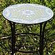 Стол с мозаикой `Каристаллы` может быть выполнен как на типовом столе, так и на кованых подстольях