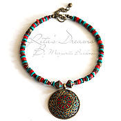 Украшения handmade. Livemaster - original item Necklace Tibet, coral and turquoise ethnic boho coral coral necklace pendant. Handmade.