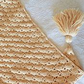 Аксессуары handmade. Livemaster - original item Hooked beige small shawl. Handmade.