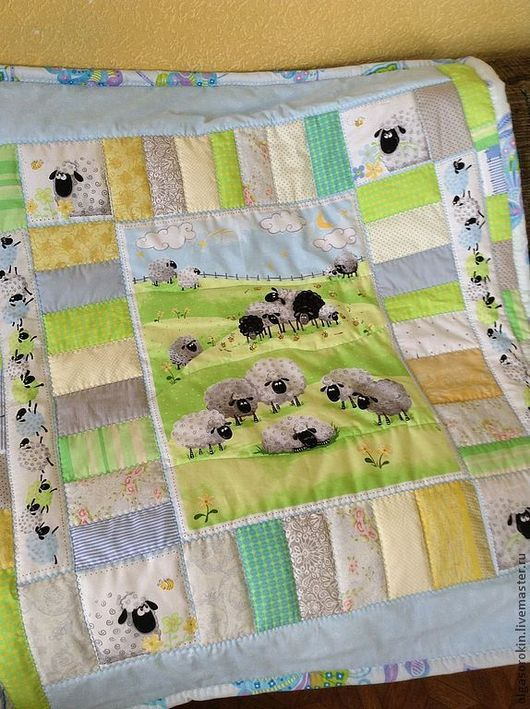 Пледы и одеяла ручной работы. Ярмарка Мастеров - ручная работа. Купить Комплект Маленькая овечка. Handmade. Мятный, комплект, одеяло