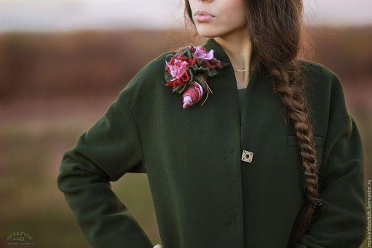 """Верхняя одежда ручной работы. Ярмарка Мастеров - ручная работа. Купить Пальто""""Звонкий голос весны"""". Handmade. Тёмно-зелёный"""