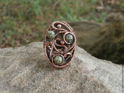 Кольца ручной работы. Ярмарка Мастеров - ручная работа. Купить Кольцо Травушка-муравушка. Handmade. Зеленый, авторское кольцо, змеевик