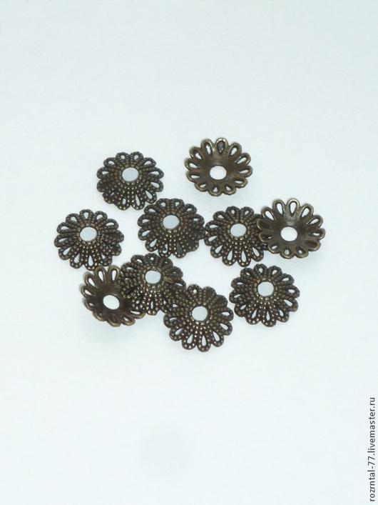 Шапочка для бусин ажурная, подходят для бусин  от 14 мм и больше, цвет ант. бронза