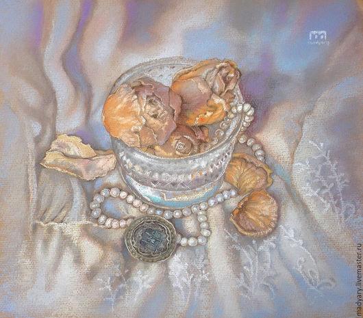 Картины цветов ручной работы. Ярмарка Мастеров - ручная работа. Купить винтажный натюрморт пастелью Сухоцветы и жемчуг (сиреневый, песочный). Handmade.