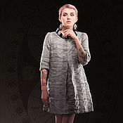 Одежда handmade. Livemaster - original item Silver Short Taffeta Dress with Knitted Sleeves «Cosmic». Handmade.