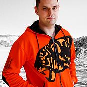 handmade. Livemaster - original item Tiger hoodie, original men`s orange hoodie. Handmade.