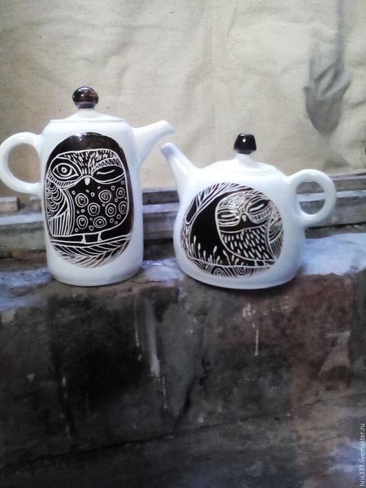 """Чайники, кофейники ручной работы. Ярмарка Мастеров - ручная работа. Купить чайник керамический """" Влюблённые совы"""". Handmade. белый"""