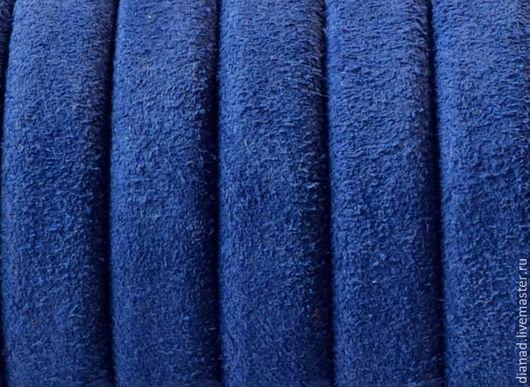 Для украшений ручной работы. Ярмарка Мастеров - ручная работа. Купить Шнур регализ замшевый, синий, коричневый, 10х6мм. Handmade.