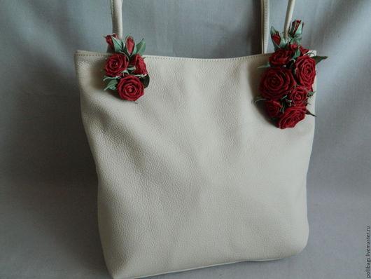 Женские сумки ручной работы. Ярмарка Мастеров - ручная работа. Купить Сумка кожаная женская Красные розы. Handmade. Бежевый