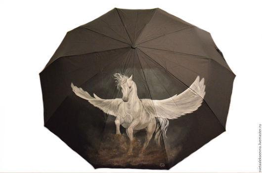 """Зонты ручной работы. Ярмарка Мастеров - ручная работа. Купить Зонт с ручной росписью  """"Пегас"""". Handmade. Черный, зонт с рисунком"""