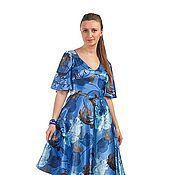 Одежда ручной работы. Ярмарка Мастеров - ручная работа Платье с цветами - синий. Handmade.