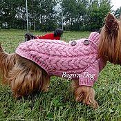 """Для домашних животных, ручной работы. Ярмарка Мастеров - ручная работа Свитер для собак """" Твид"""" розовый с пуговицами. Handmade."""