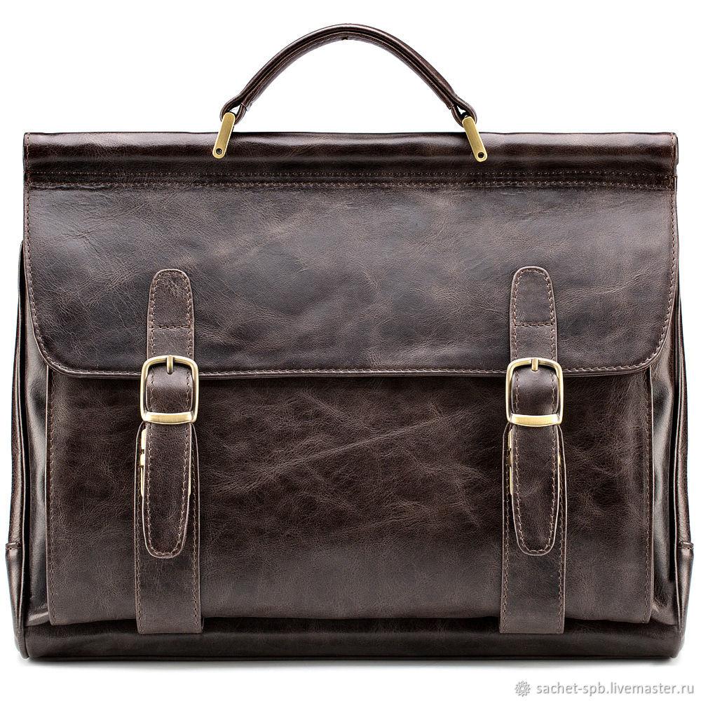 Leather briefcase Versailles (dark brown antique), Brief case, St. Petersburg,  Фото №1