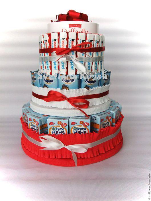 Букеты ручной работы. Ярмарка Мастеров - ручная работа. Купить Торт из конфет.. Handmade. Ярко-красный, торт из шоколада