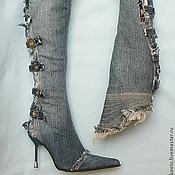 """Обувь ручной работы. Ярмарка Мастеров - ручная работа Скидка! 35-36 размер, Сапоги джинсовые """"Элеганс"""" на шпильке. Handmade."""