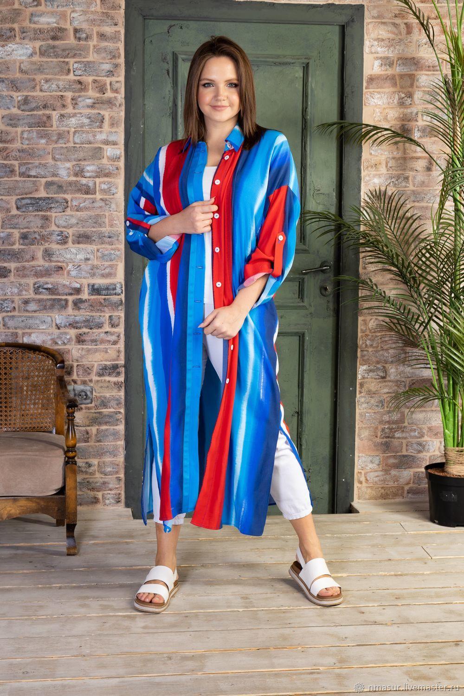 Яркое платье-рубашка из вискозы, Платья, Новосибирск,  Фото №1