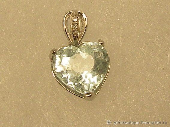 Aquamarine 3.25 K natural &pendant 925 silver, Pendants, Moscow,  Фото №1