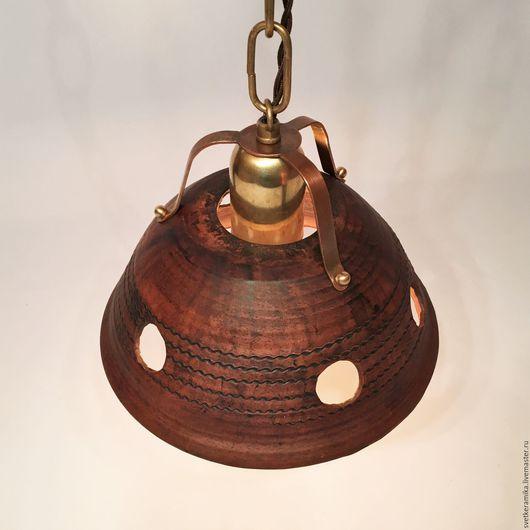Освещение ручной работы. Ярмарка Мастеров - ручная работа. Купить Керамический светильник с медным подвесом на цепи. Handmade. Люстры потолочные