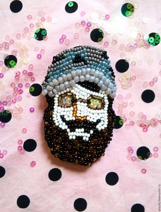 """Броши ручной работы. Ярмарка Мастеров - ручная работа. Купить Брошь """"Борода"""". Handmade. Белый, бородач, хипстер, брошь в подарок"""