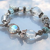 Украшения handmade. Livemaster - original item B3 Bracelet with rock crystal and aquamarine. Handmade.