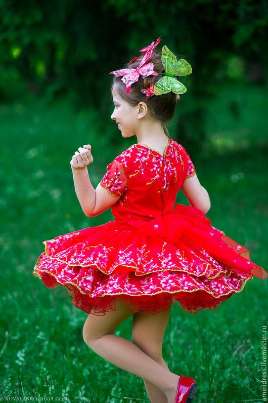 Одежда для девочек, ручной работы. Ярмарка Мастеров - ручная работа. Купить платье БАБОЧКА. Handmade. Ярко-красный, детство, органза