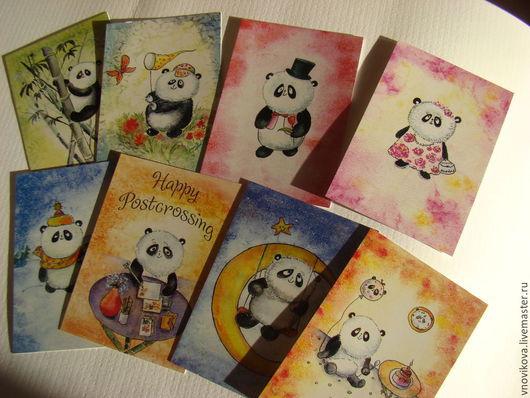 """Открытки на все случаи жизни ручной работы. Ярмарка Мастеров - ручная работа. Купить набор почтовых открыток """" Счастливые панды"""". Handmade."""