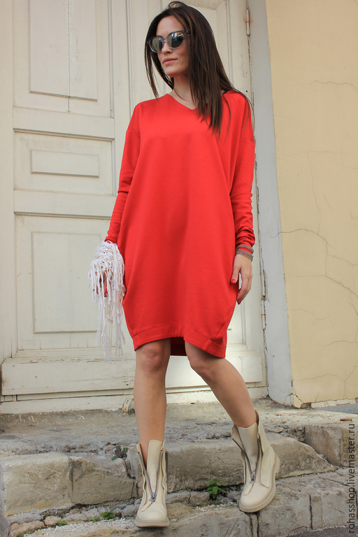 c967449cfd1 ... R00040 Платье красное короткое яркое платье сочное платье красный цвет  свободное платье нарядное платье теплое платье ...