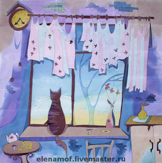 """Шали, палантины ручной работы. Ярмарка Мастеров - ручная работа. Купить Платок """"Кошка на окне"""". Handmade. Шелковый платок, коты"""
