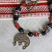 """Ожерелье """"Кнесинка"""" с лунницей. Натуральные камни, лэмпворк"""