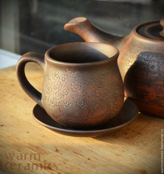 """Сервизы, чайные пары ручной работы. Ярмарка Мастеров - ручная работа. Купить Чайная пара """"Цвет сакуры"""". Handmade. Коричневый"""
