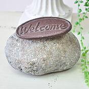 Материалы для творчества ручной работы. Ярмарка Мастеров - ручная работа Камень Welcome для сада, стоппер для двери, ограничитель двери. Handmade.