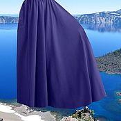 """Одежда ручной работы. Ярмарка Мастеров - ручная работа Темно-синяя юбка из джерси """"Глубокое озеро"""" (теплая юбка, юбка в пол). Handmade."""