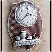 """Для дома и интерьера ручной работы. Ярмарка Мастеров - ручная работа Часы с полочкой """"Русский шоколад"""". Handmade."""